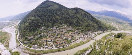 Town near a mountain