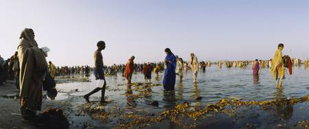 People washing in Kumbh Mela