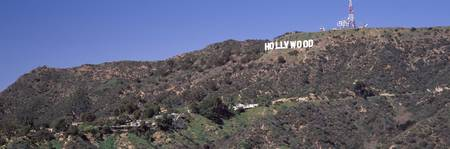 Hollywood sign on a hill Hollywood Hills Hollywoo