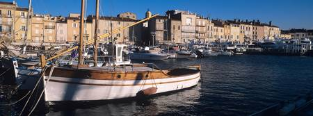 Boats at a harbor St. Tropez French Riviera Var P