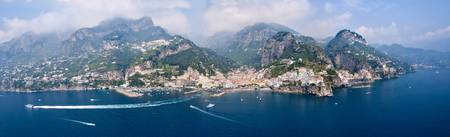 Aerial view of towns Amalfi Atrani Amalfi Coast S
