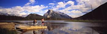 Mountain Bikers Vermilion Lakes Alberta Canada