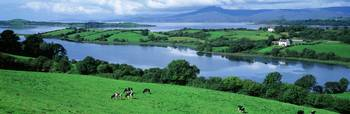 Rolling green fields Bantry Bay Cork Co Ireland