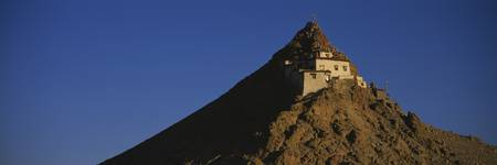 Low angle view of a monastery on a mountain