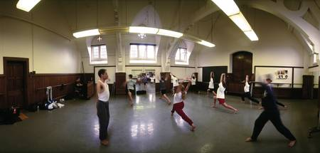 College students practicing in a dance class