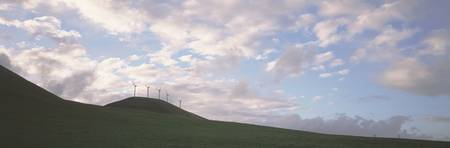 Wind Generators Silhouette Clouds Altamont Pass C