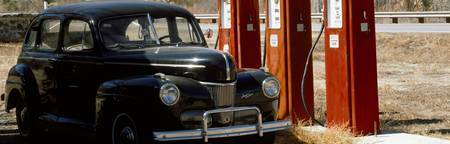 Antique Car and Gas Pumps
