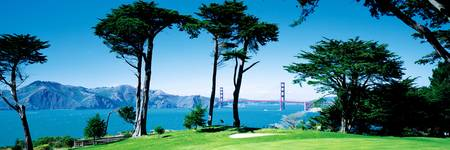 Golf Course w\ Golden Gate Bridge San Francisco C