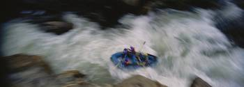 High angle view of a group of people white water