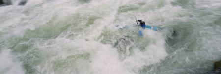High angle view of a person kayaking