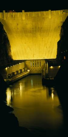 Dam lit up at night