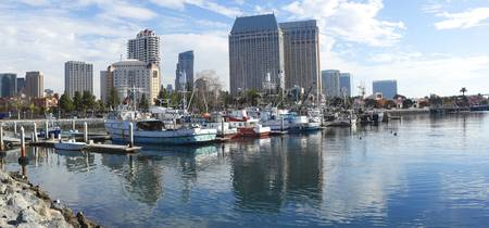 Fishing boats docked at a marina San Diego Califo