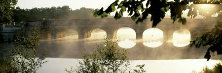Stone Bridge in Fog Loire Valley France