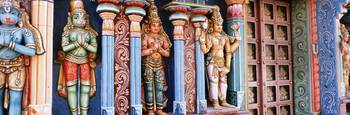 Statues of Hindu Gods carved in a temple