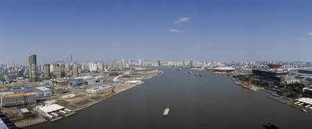 Cityscape with river viewed from Lupu Bridge Huan