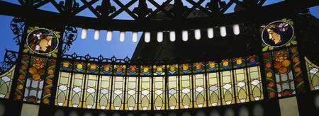 Close-up of stained glass in a government buildin
