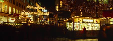 Christmas market lit up at night Munich Bavaria G
