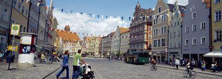 People in a city Landshut Lower Bavaria Bavaria G