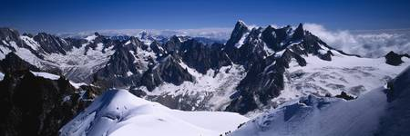 Aerial view of a snow covered mountain range