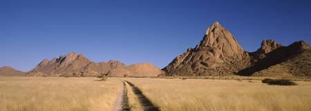 Trails leading towards mountains Spitzkoppe Namib
