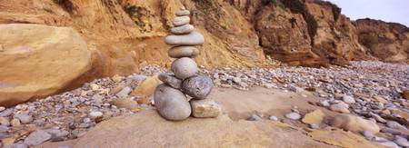 Stone sculpture on the beach