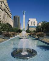 Fountain in front of buildings