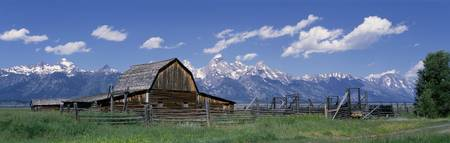 Old barn and Teton Range Grand Teton National Par