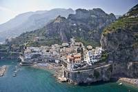 Town at the waterfront Amalfi Atrani Amalfi Coast