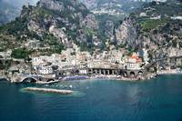 High angle view of a town Amalfi Atrani Amalfi Co