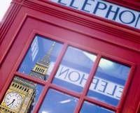 Telephone Booth Reflection of Big Ben London Engl
