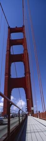 Low angle view of a suspension bridge Golden Gate