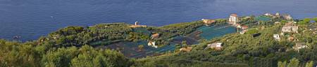 Aerial view of a town Villa Angelina Massa Lubren