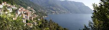 Town at the waterfront Lake Como Como Lombardy It