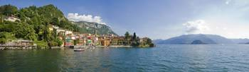 Town at the lakeside Lake Como Como Lombardy Ital