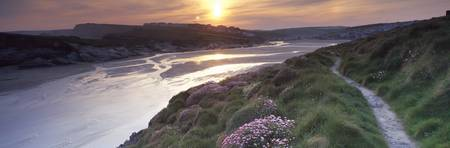River flowing at sunset Porth Newquay Cornwall En