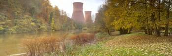 Cooling towers at a coal fired power station Iron