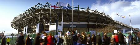 Rugby fans outside a stadium Murrayfield Stadium
