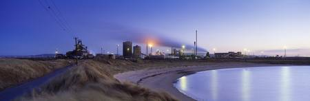 Steel mill at dusk Redcar Steelworks South Gare R