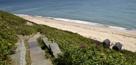 Stepped walkway leading towards a beach