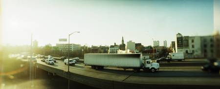 Traffic on an overpass Brooklyn Queens Expressway