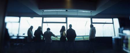 Tourists at an observation point Space Needle Sea