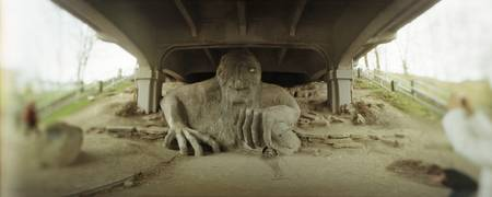 Troll sculpture under a bridge Fremont Bridge Fre