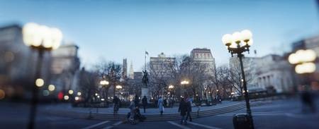 Lampposts lit up at town square Union Square New