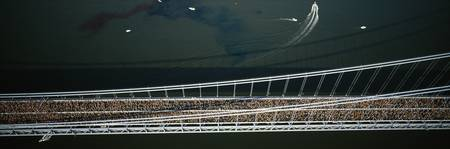 Aerial view of a crowd running on a bridge