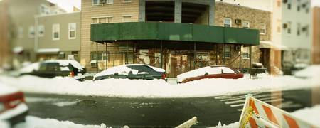 Snow covered cars at the roadside Williamsburg Br