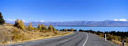 Road at the lakeside Lake Pukaki South Island New