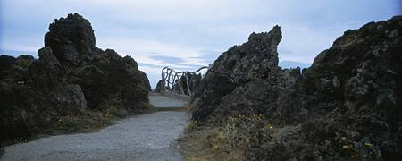 Road passing through rock formations