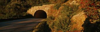 Road passing through a tunnel