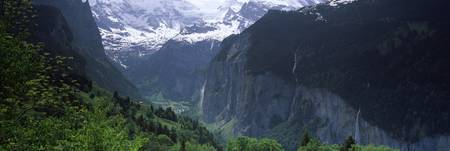 Waterfalls in a forest Lauterbrunnen Valley Wenge