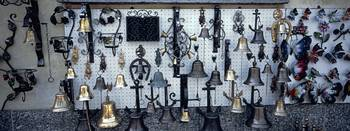 Bells on display in a store